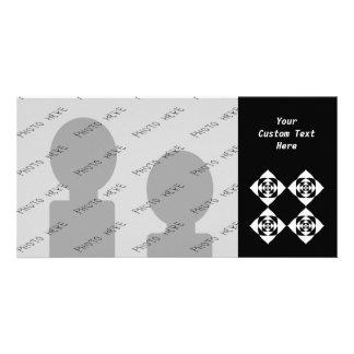 Diseño floral blanco y negro tarjetas con fotos personalizadas