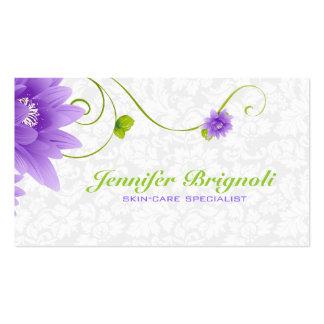 Diseño floral blanco y verde púrpura tarjetas de visita