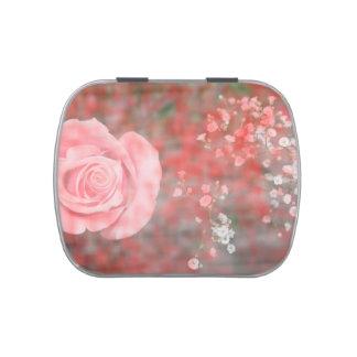 diseño floral blotched respiración color de rosa d latas de dulces