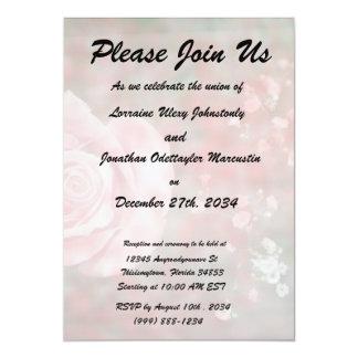 """diseño floral blotched respiración color de rosa invitación 5"""" x 7"""""""