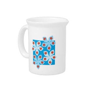 Diseño floral bonito azul rojo y blanco jarrón