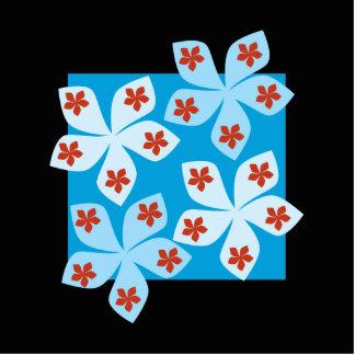 Diseño floral bonito, azul, rojo y negro fotoescultura vertical