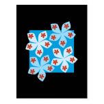 Diseño floral bonito, azul, rojo y negro postal