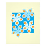 Diseño floral bonito, azul y crema tarjetas informativas