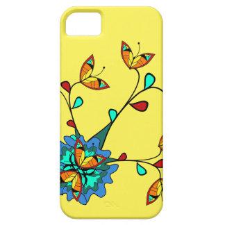 Diseño floral bonito de la vid de la mariposa iPhone 5 funda