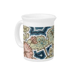 diseño floral bonito de las amapolas del nouveau d jarra de beber
