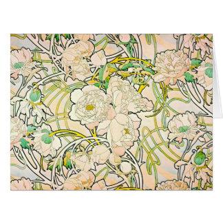 Diseño floral c1885 tarjeta de felicitación grande