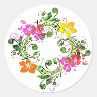 Diseño floral coloreado multi pegatina redonda