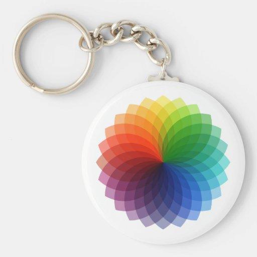 Diseño floral colorido abstracto llavero