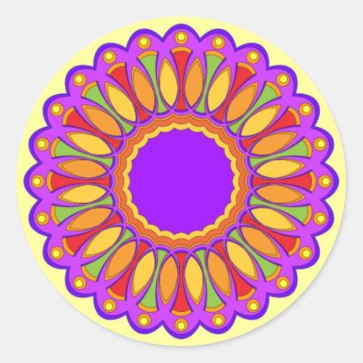 Diseño floral colorido pegatina redonda