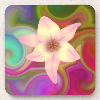 Diseño floral colorido posavaso