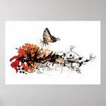 diseño floral con la mariposa impresiones