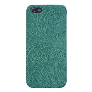 Diseño floral Cuero-Grabado en relieve azulverde iPhone 5 Funda