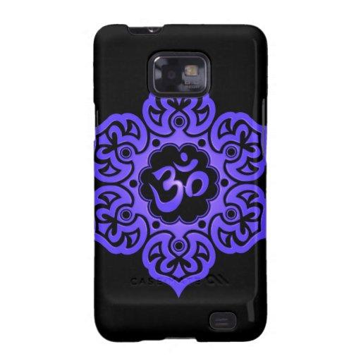 Diseño floral de Aum - azul y negro Galaxy S2 Cobertura