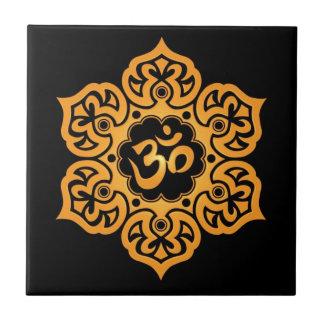 Diseño floral de Aum negro de oro Tejas Ceramicas