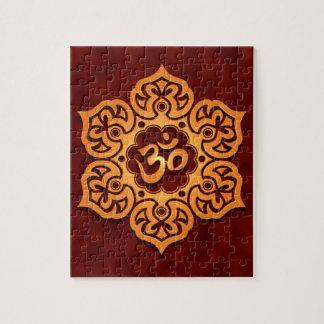 Diseño floral de Aum, rojo de oro Puzzles