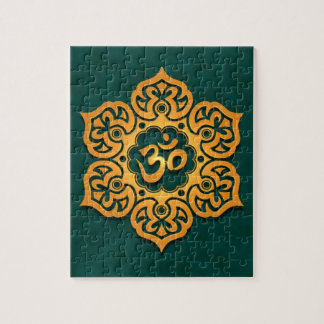 Diseño floral de Aum, trullo de oro Rompecabeza