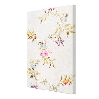 Diseño floral de claveles y de rosas para una seda impresión en tela