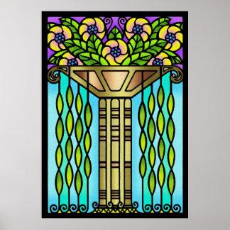 Diseño floral de cristal de la mancha del art déco póster