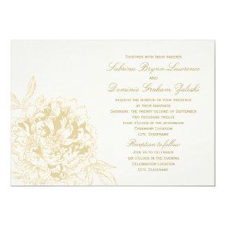 Diseño floral de encargo del Peony de la Invitación 12,7 X 17,8 Cm