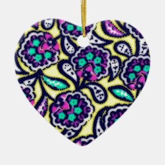 Diseño floral de Feedsack del vintage Adorno Navideño De Cerámica En Forma De Corazón