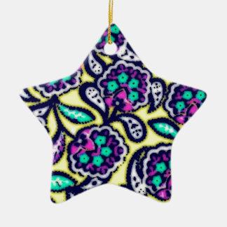 Diseño floral de Feedsack del vintage Adorno Navideño De Cerámica En Forma De Estrella