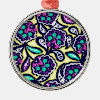 Diseño floral de Feedsack del vintage Adorno Navideño Redondo De Metal