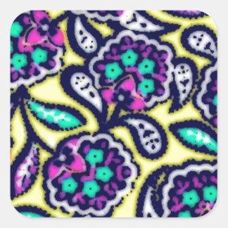 Diseño floral de Feedsack del vintage Pegatina Cuadrada