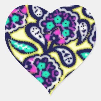 Diseño floral de Feedsack del vintage Pegatina En Forma De Corazón