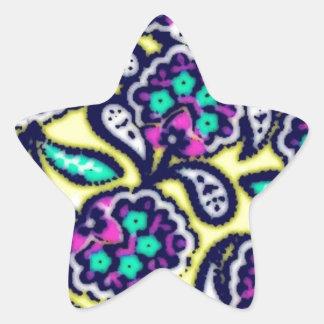 Diseño floral de Feedsack del vintage Pegatina En Forma De Estrella