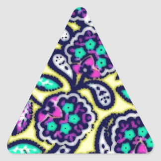 Diseño floral de Feedsack del vintage Pegatina Triangular