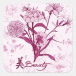Diseño floral de la belleza pegatina cuadrada