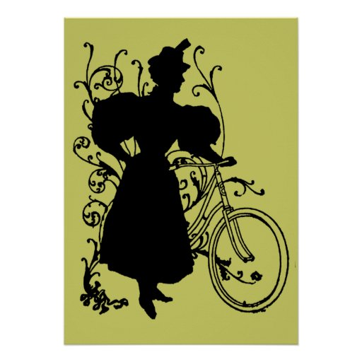 Diseño floral de la bicicleta de la mujer del Vict Poster