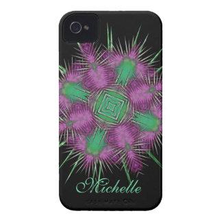 Diseño floral de la cabeza escocesa caprichosa del iPhone 4 Case-Mate funda