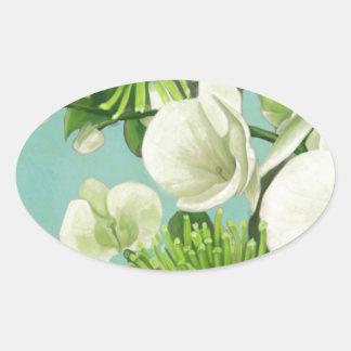 Diseño floral de la dalia pegatina ovalada