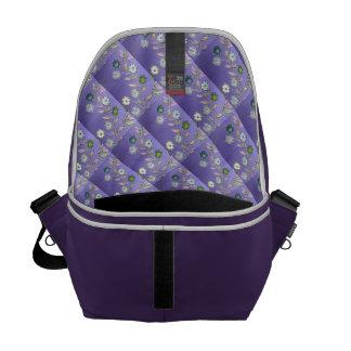 Diseño floral de la fantasía en púrpura, azul, bolsa messenger