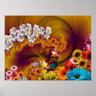 Diseño floral de la fantasía posters
