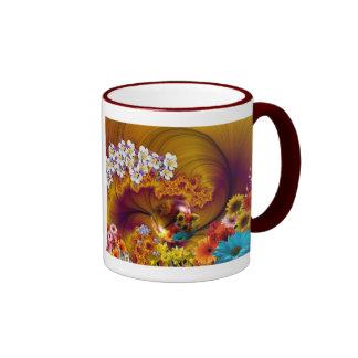 Diseño floral de la fantasía taza a dos colores