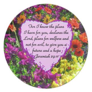 DISEÑO FLORAL DE LA FOTO DEL 29:11 DE JEREMIAH PLATOS