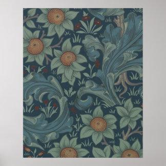 Diseño floral de la huerta del vintage de William  Póster