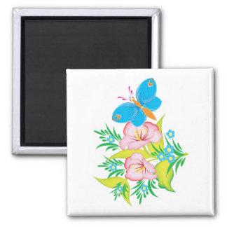 diseño floral de la mariposa del verano imán cuadrado