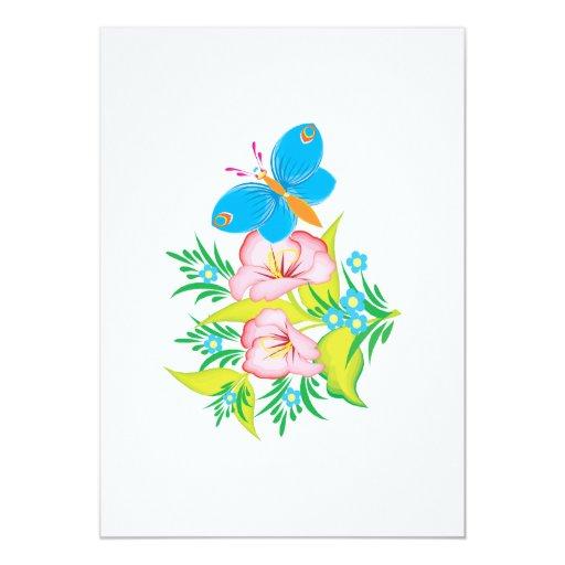 diseño floral de la mariposa del verano invitación
