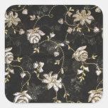 Diseño floral de la materia textil de la tela calcomanias cuadradas