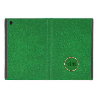 Diseño floral de la mirada verde del ante de iPad mini funda