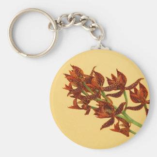 Diseño floral de la orquídea del tigre llavero redondo tipo pin