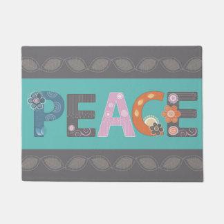 Diseño floral de la paz felpudo