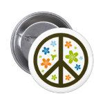 Diseño floral de la paz pin redondo 5 cm