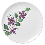 Diseño floral de la placa púrpura de las flores plato de cena