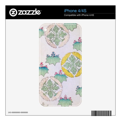 Diseño floral de la primavera delicada calcomanía para el iPhone 4S