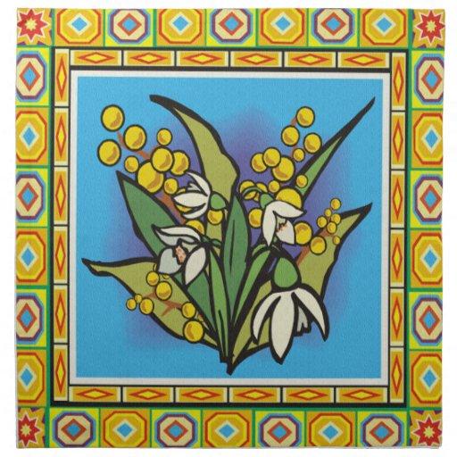 Diseño floral de la servilleta de la frontera